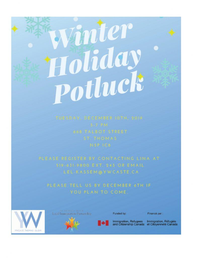 Winter Holiday Potluck poster